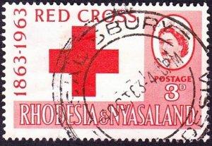 RHODESIA & NYASALAND 1963 QEII 3d Red, Red Cross Centenary SG47 FU