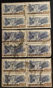India Scott#421 Avg to VF 12 stamps in blocks Used Cat. $6.00