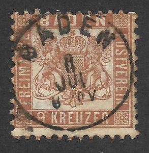 Doyle's_Stamps: 1864 German Baden State 9 Kreuzer Issue Scott #23