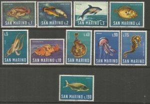 San Marino MNH 643-52 Fish & Marine Life