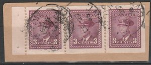 #252b Canada Used Booklet pane x 3 on paper