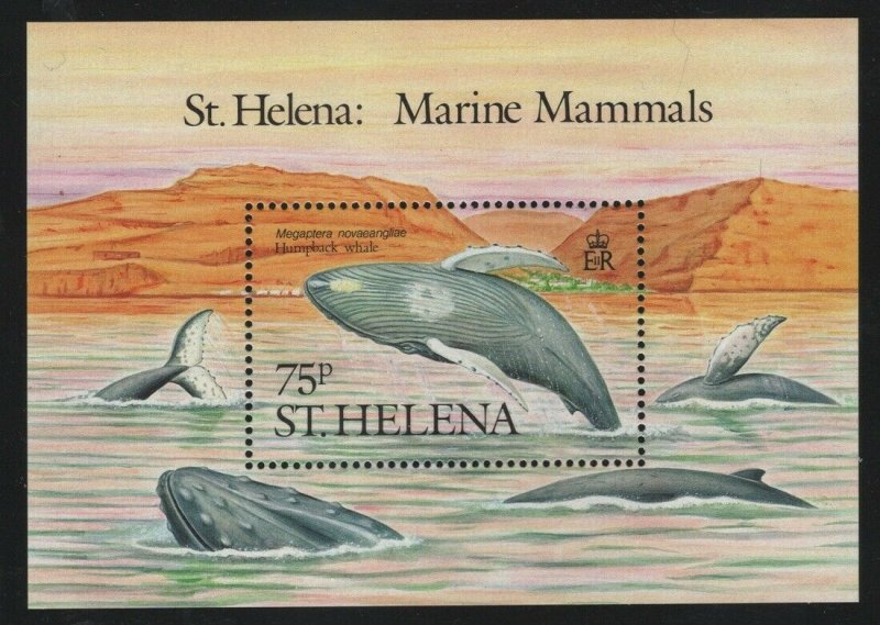 St Helena 1987 75p Humpback Whale S/S Sc# 487 NH