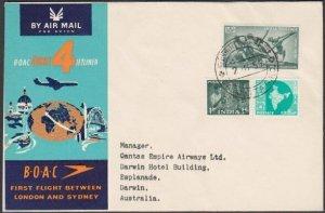 INDIA 1959 BOAC first flight cover to Darwin Australia......................N443