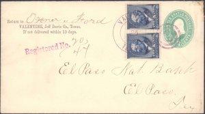 Jeff Davis County Valentine Registered ( Postal History ), 1889