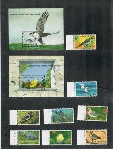 Turks+Caicos Sc#806-815 M/NH/VF, Birds, Cv. $76.50