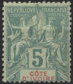 Ivory Coast 4 (used? ng) 5c navigation & commerce, grn on grnish paper (1892)