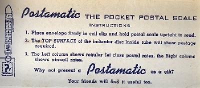Vintage Postamatic pocket postal scale in original box