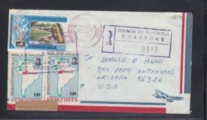 Registered Cover Guarenas Venezuela to USA United States Customs Marking 1976