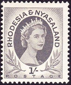 RHODESIA & NYASALAND 1954 EQII 1/- Grey-Black SG9 MH