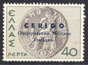 GREECE 399 CERIGO ITALY OCCUPATION OVERPRINT OG NH U/M VF SIGNED