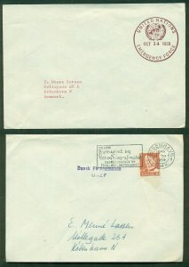 DENMARK 1959, Danish UN Force in GAZA, 2 covers w/different markings, VF