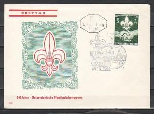 Austria, Scott cat. 684. 50th Anniversary of Scouting issue. First day cover.