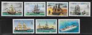 Turks & Caicos 579, 82-3, 85-6, 88, 90 Ships part set MNH