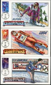 #2807-11 (5) DIFF WINTER OLYMPICS '94 HANDPAINTED FDC CACHET BY COLLINS BP7708