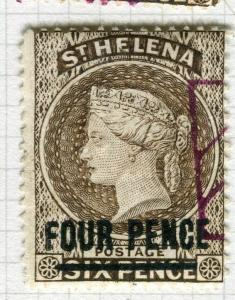 ST. HELENA; 1884-94 early classic QV issue fine used FOUR PENCE