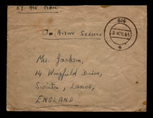 1945 British Indian Forces Cover Ceylon to England - L5446