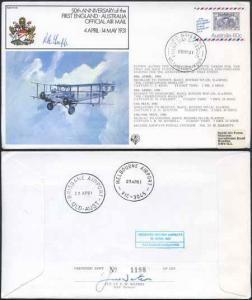 FF28c 50th Ann 1st England-Austrailia Official Airmail Signed by R.B. Tapp (A)