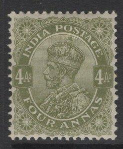 INDIA SG175 1911 4a OLIVE-GREEN MTD MINT