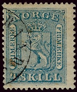 Norway #8 Used Fine small staining SCV$18...Chance to buy a Bargain!
