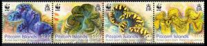Pitcairn WWF Fluted Giant Clam strip of 4v SG#865a
