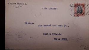 O) 1911 CIRCA - CHILE, MANUEL BULNES, VIA PANAMA. TO CANAL ZONE, XF