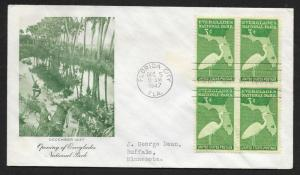 UNITED STATES FDC 3¢ Everglades National Park BLOCK 1947 Fulton
