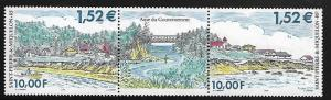 ST. PIERRE & MIQUELON 711 MNH GOVERNMENT HOUSES STRIP OF 2 WITH LABLE