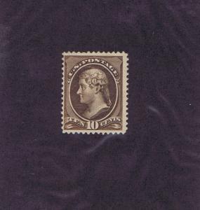 SC# 209 UNUSED OG PH 10 CENT, 1882, DARK BROWN SHADE, F VF, PF CERT.