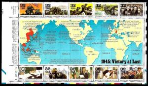 1995 WWII VICTORY AT LAST #2981 Mint -MNH- Half Sheet of 10 Postage Stamp