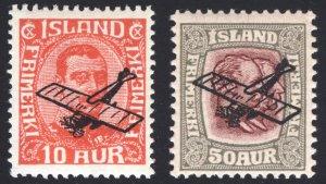 Iceland 1928-1929 10a-50a AIR Scott C1-C2 MVLH Cat $76