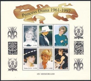 Sierra Leone MNH S/S 2092 Diana Princess Of Wales 1998 6 Stamps