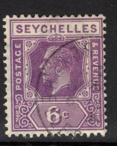 SEYCHELLES SG105 1922 6c DEEP MAUVE FINE USED