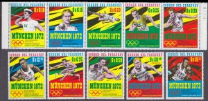 1971 Paraguay 2139-2148 1972 Olympic Games in Munich