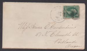**US 19th Century Cover Scott #184, New Tacoma, WA Terr, 1883, Letter Enclosed