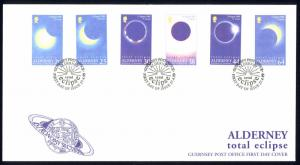 Alderney Sc# 128-133 FDC 1999 Total Eclipse