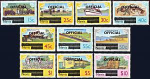 Nevis O1-O10, MNH, Official Overprints