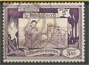 BURMA, 1949, used 3a, Spinning Scott 108