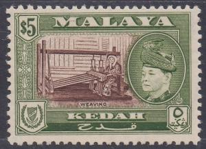 KEDAH 1957 SULTAN WEAVING $5 MNH **