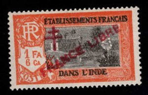 FRENCH INDIA  Scott 166 MH* France Libre  overprint