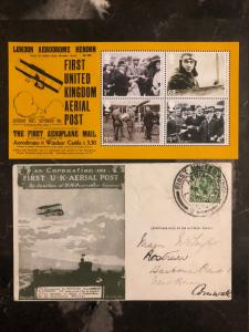 1911 England First Flight Aerial Post Coronation Postcard Cover FFC w/Comm Stamp