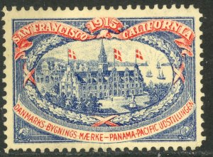 USA / DENMARK 1915 PANAMA PACIFIC EXHIBITION DANISH PAVILION Label MH