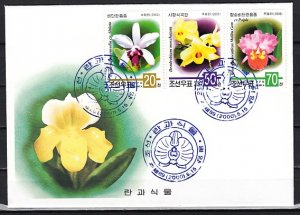 N. Korea, Scott cat. 4039-4041. Orchids issue. First day cover. ^
