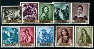 HERRICKSTAMP SPAIN Sc.# 1095-1104 1962 Zurbaran Paintings Mint NH