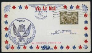 CANADA 1931 Winnipeg to Pembina, U.S.A. FFC