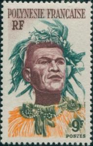 French Polynesia 1958 Sc#188,SG8 9f Polynesian Man MNH