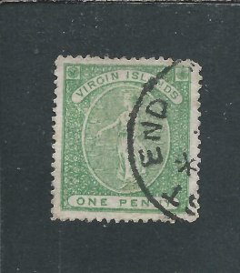 BRITISH VIRGIN IS 1867-70 1d YELLOW-GREEN PERF 15 ON GREYISH PAPER FU SG 12