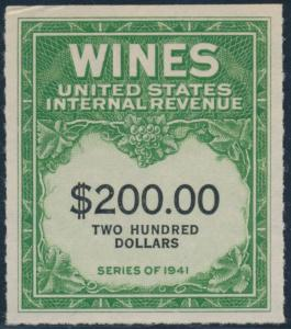 #RE165 XF SOUND $200 SERIES OF 1941 WINE USIR STAMP CV $190 BR9056