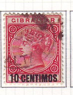 Gibraltar Sc 23 1889 10 c ovpt on 1 d Victoria stamp used