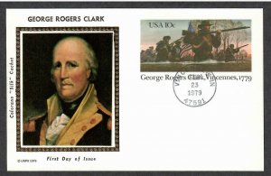 US # UX78 George Rogers Clark Colorano Silk First Day Postal Card  I Combine S/H