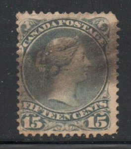 Canada Sc 30 15c gray large Queen Victoria stamp used